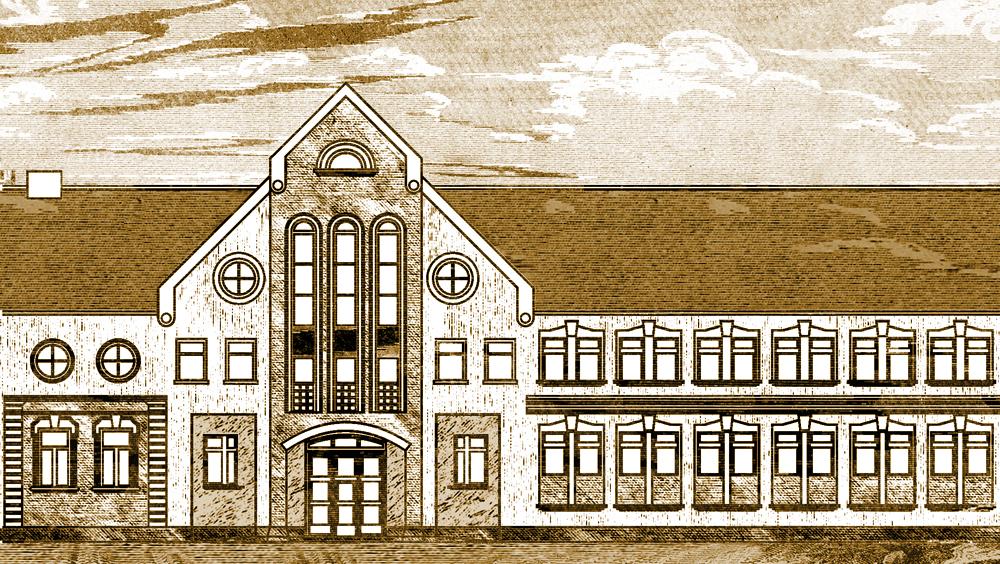 Az MNL BKML központi épülete (grafika, készítette: Mudri Andor)