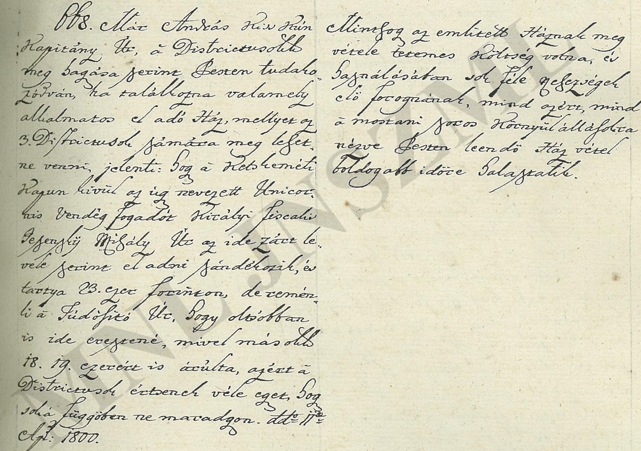 Jelzete: MNL JNSzML IV.1.a. A Jászkun Kerület Nemesi Közgyűlésének iratai. Közgyűlési jegyzőkönyv 668/1800.