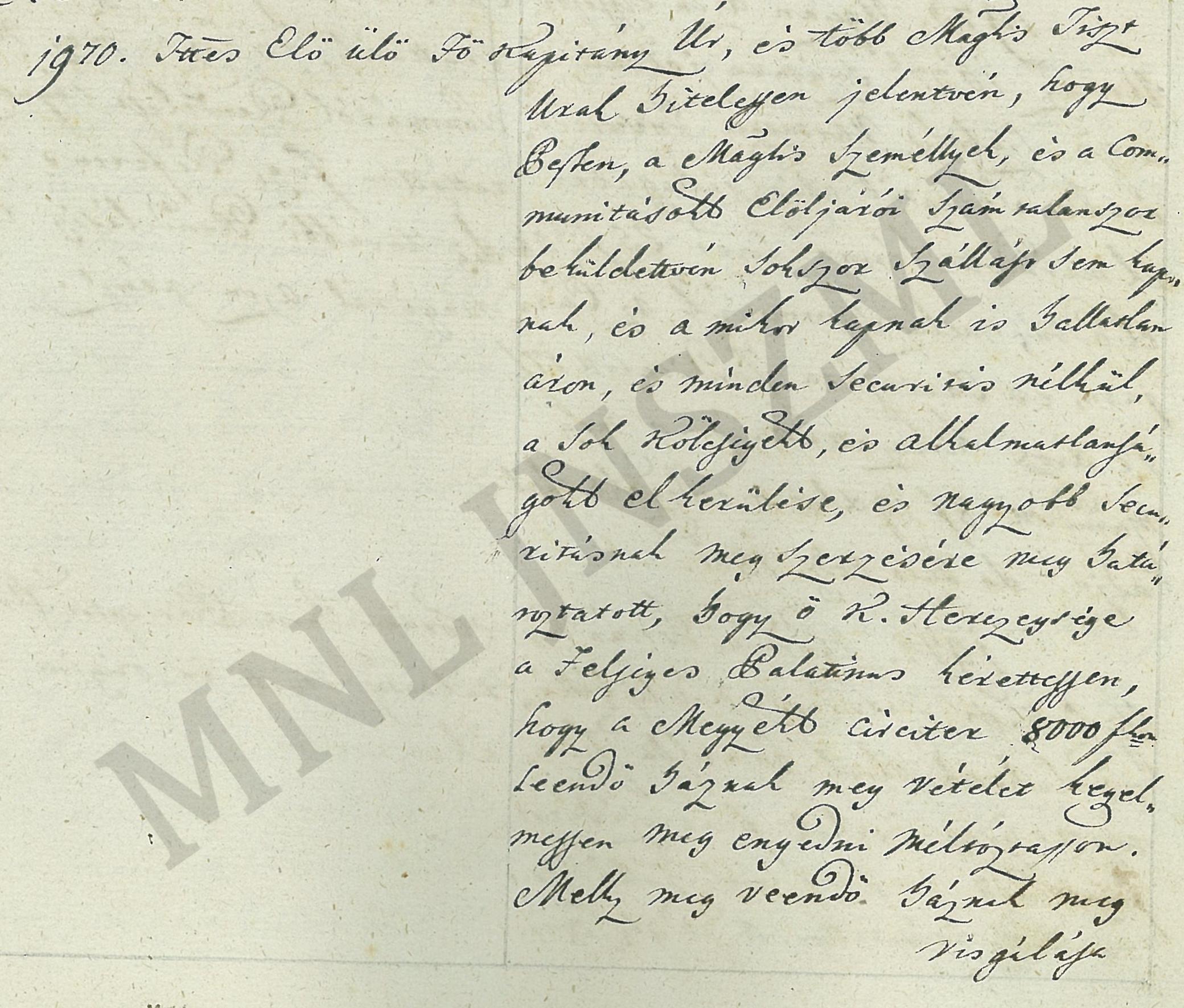 MNL JNSzML IV.1.a. A Jászkun Kerület Nemesi Közgyűlésének iratai. Közgyűlési jegyzőkönyv 1970/1801.
