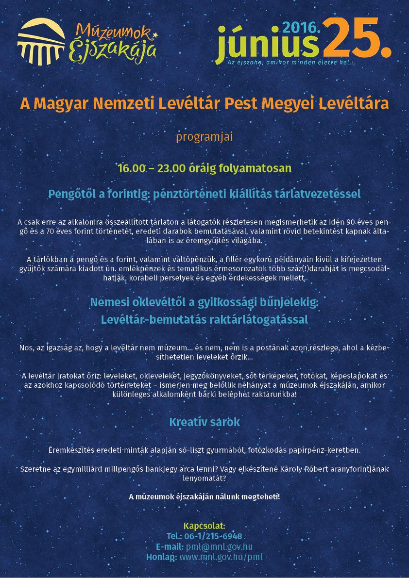 Múzeumok Éjszakája 2016. június 25. program