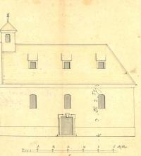 Az Esztergom vármegye párkányi járásához tartozó Mocs református imaházának tervrajza (részlet) 1782. október 20. HU MNL KEML IV.1.g.