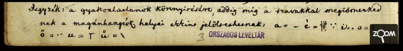Héber betűk Kossuth török grammatikájában - Forrás: Országos Levéltár